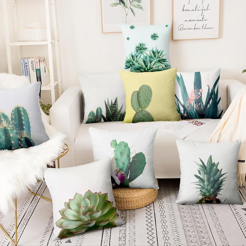 Funda de cojín con dibujo de Planta Fresca y pequeña, cojín decorativo con Cactus Tropical, decoración para el hogar, cojines para sofá de 45x45cm