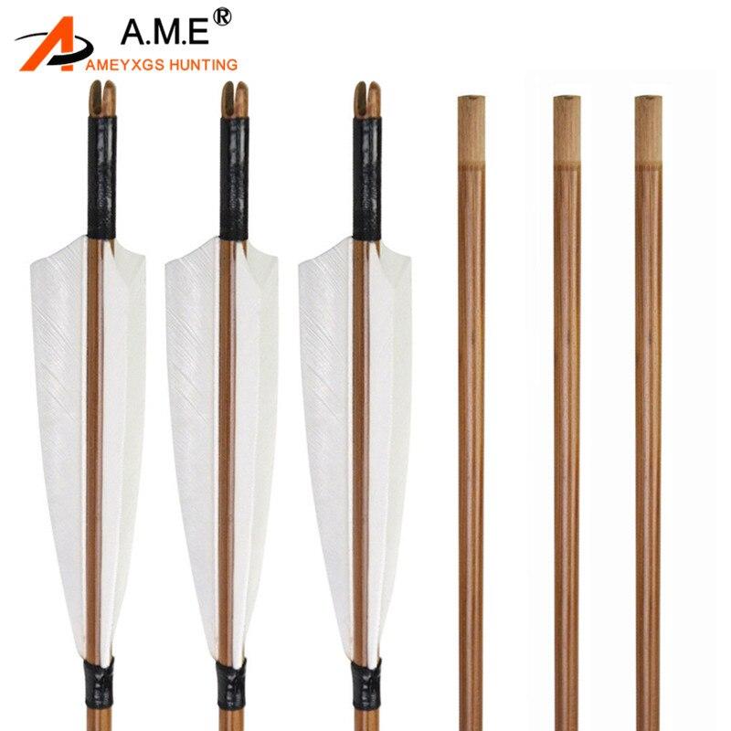 """12 Uds flechas de bambú de Tiro con Arco 5 """"plumas naturales Fletches blancos herramientas de bricolaje hechas a mano para caza accesorios de tiro"""
