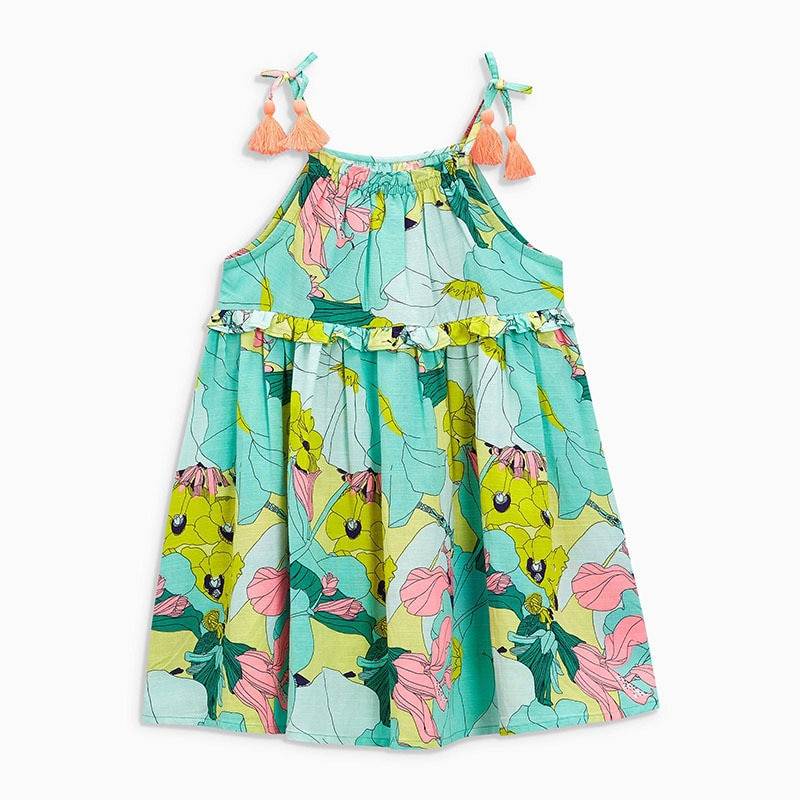 Little maven 2-7Years Summer Slip Lace Dress For Baby Girl Fancy Child Kids Toddler Baby Girls Flower Print Cotton Green Dress