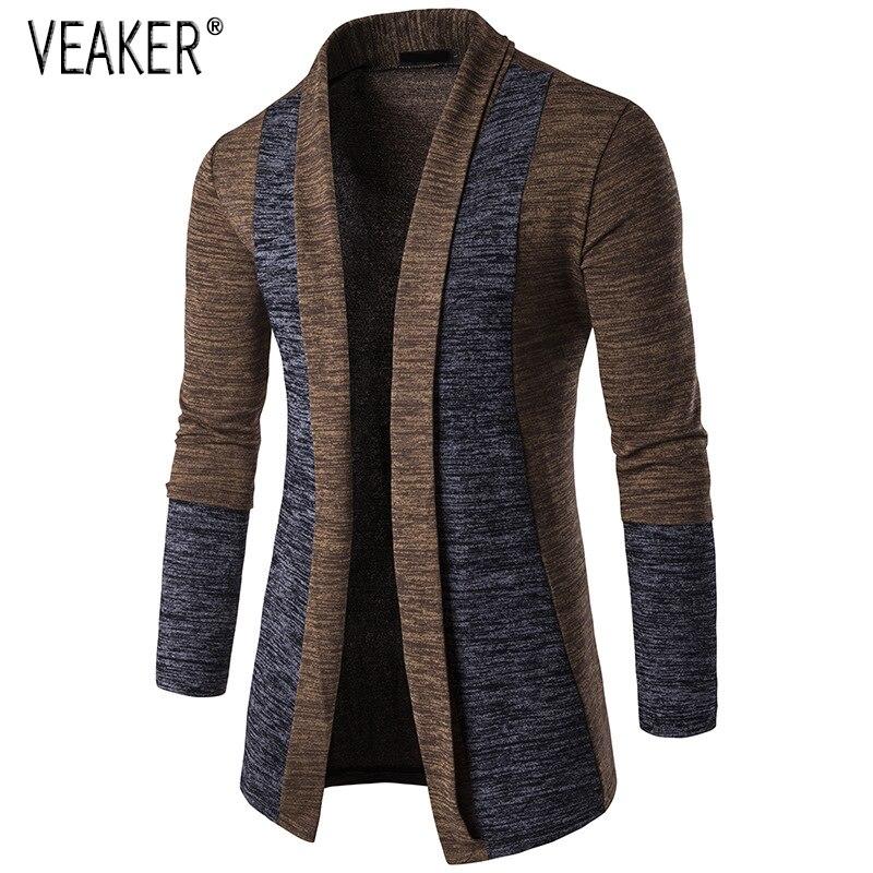 Мужской длинный кардиган, приталенный свитер с отложным воротником, повседневный вязаный свитер, M-2XL, осень 2019