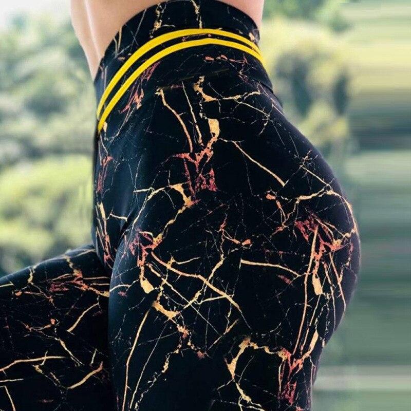 Svokor leggings de cintura alta feminino impressão de mármore fino legging verão esportes casuais respirável poliéster leggings womens