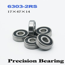 6303RS Bearing ABEC-3 17*47*14 mm Deep Groove 6303-2RS Ball Bearings 6303RZ 180303 RZ RS 6303 2RS EMQ Quality  (2 PCS)