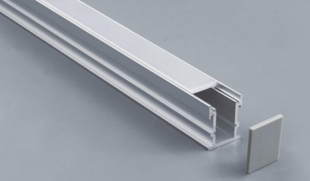 Envío Gratis 2000mmX21mmX26Mount aluminio tira de luz LED carcasa de perfil bajo de 0-300cm con ópalo y funda transparente lente