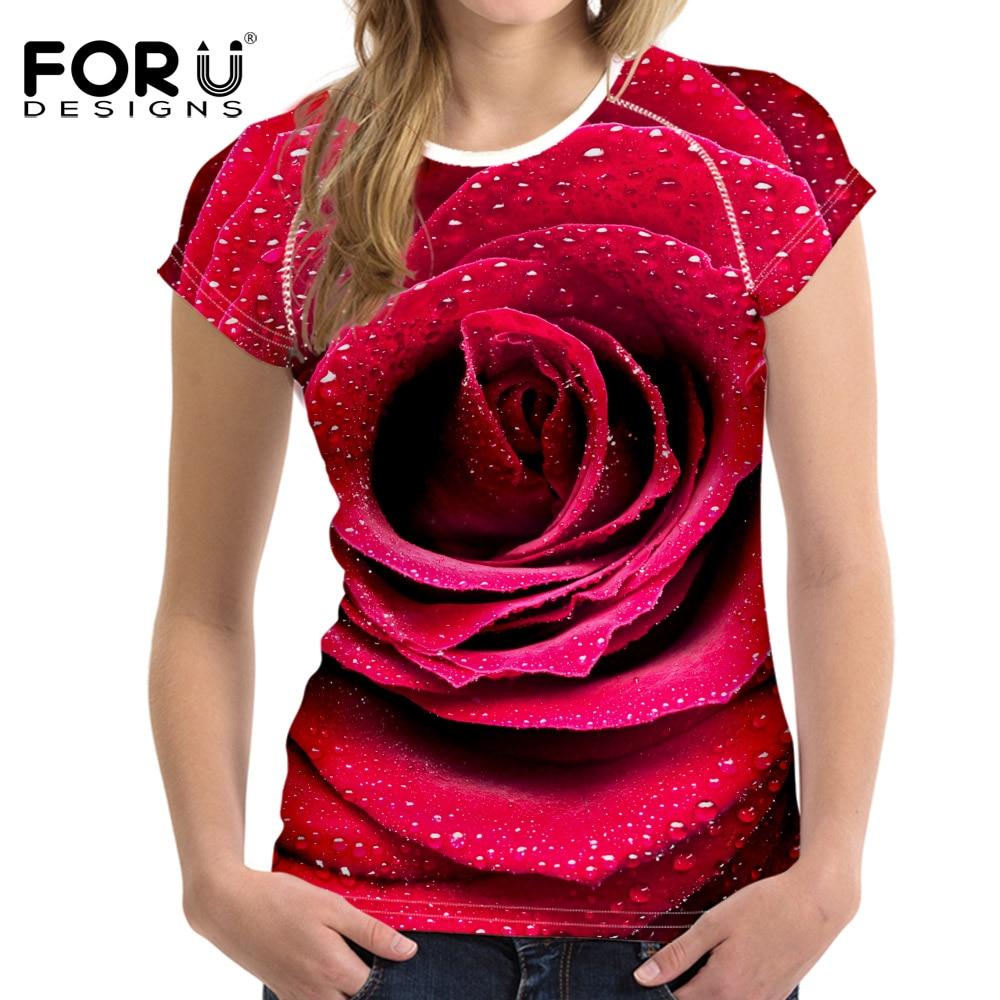 FORUDESIGNS Newest 3D Royal Blue Rose T-shirts Women Summer Tops Tees Printed Girls T shirt Women Fashion Tshirts Vetement Femme