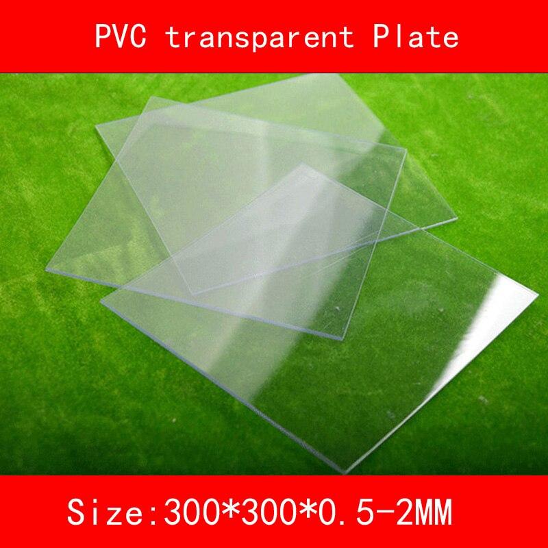 Прозрачная пластиковая пластина из ПВХ, толщина 300*300 мм, 0,5 мм, 1 мм, 1,5 мм, 2 мм