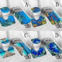 3 pièces toilette couverture siège antidérapant poisson échelle tapis de bain salle de bain cuisine tapis paillassons décoration doux coussin WC couverture M50 #