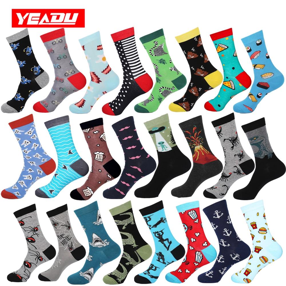 YEADU 85% Cotton Mens Socks Winter Harajuku Colorful Funny Poop Dinosaur Sushi Moustache Dress Socks for Male Christmas Gift