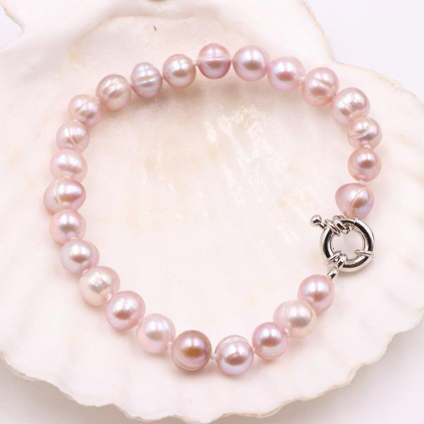 7-8mm púrpura Natural perlas de agua dulce pulsera de hebra para mujeres brazalete moda declaración joyería de fiesta femenina 7,5 pulgadas A509