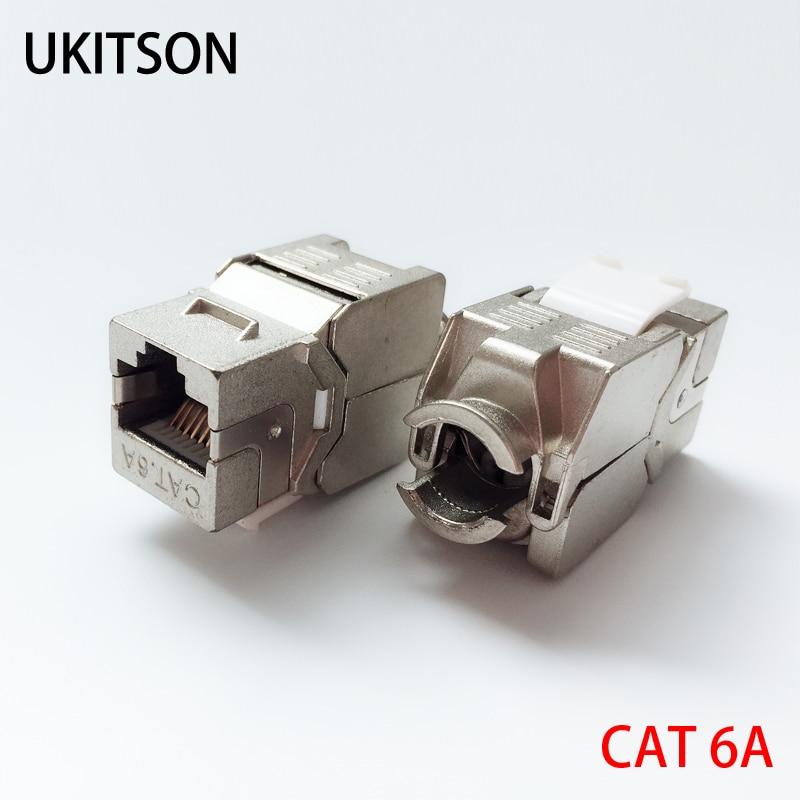 Keystone CAT 6A RJ45 Shielded Slot CAT.6A Jack Modules CAT6A LAN Coupler Socket For 10GB Network