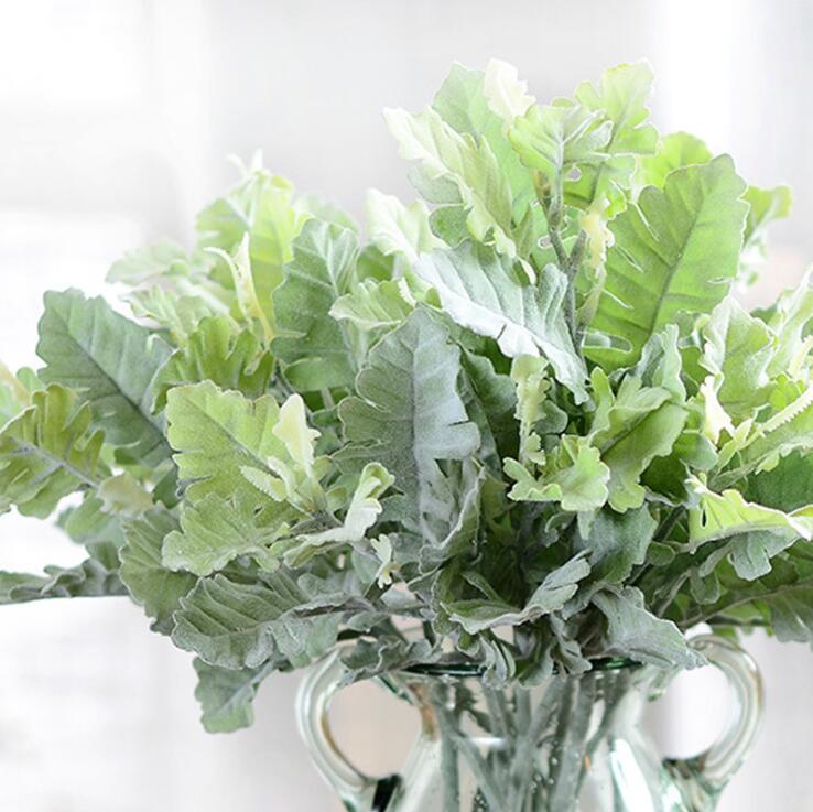 10 Uds. Artificial difuso polvoriento molinero plantas hoja otoño hogar boda DIY decoración flores de plástico falsas ramas de árboles coronas