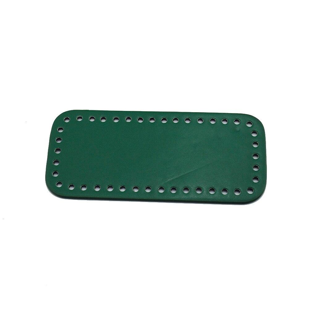 18x8 см низ для вязальной сумки, патент, зеркальная прямоугольная низа с отверстиями, зеленая сумка, кожаные низы для сумки