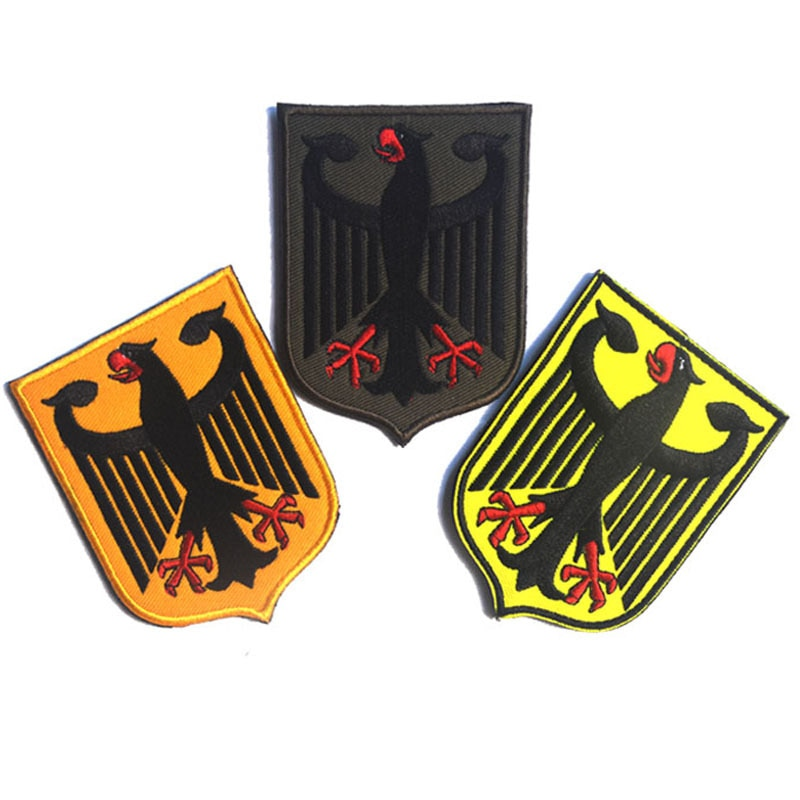 Alemanha eagle escudo remendo bordado remendos emblema exército militar 6.5*8.7cm acessório gancho e laço tático