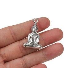 1 Stk/partij Zinklegering Antiek Zilver Kleur Boeddha Meditatie Yoga Zitten Bedels Hangers Accessoires Voor Diy Sieraden Maken