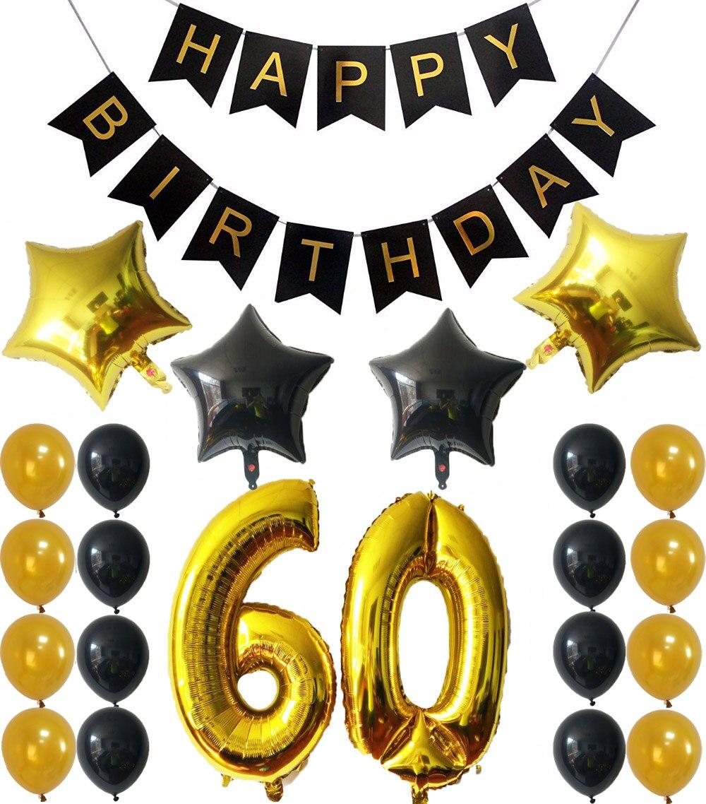 Decoraciones para fiestas de 60 cumpleaños negro Feliz cumpleaños negro Banner dorado número 60 globos oro y Negro látex bolas suministros para fiestas