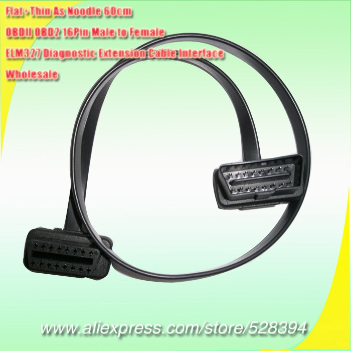 30cm 60cm or 1m Wholesale Flat+Thin As Noodle ELM327 Male To Female Elbow Car Connector Adapter 16 Pin OBD2 Extension Cable