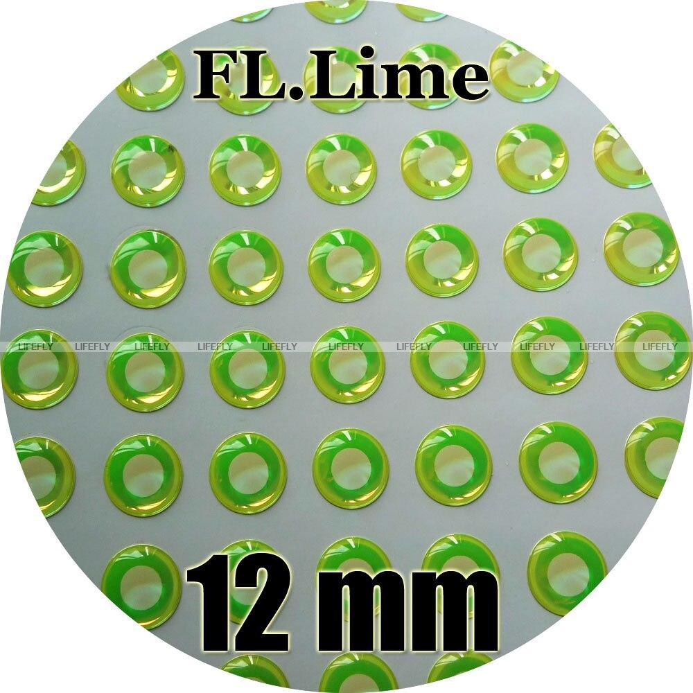 12mm 3D fluorescente neón Lima (pupila blanca)/Venta al por mayor 250 suave moldeado 3D ojos de pez holográficos, atado de moscas, plantilla, señuelo