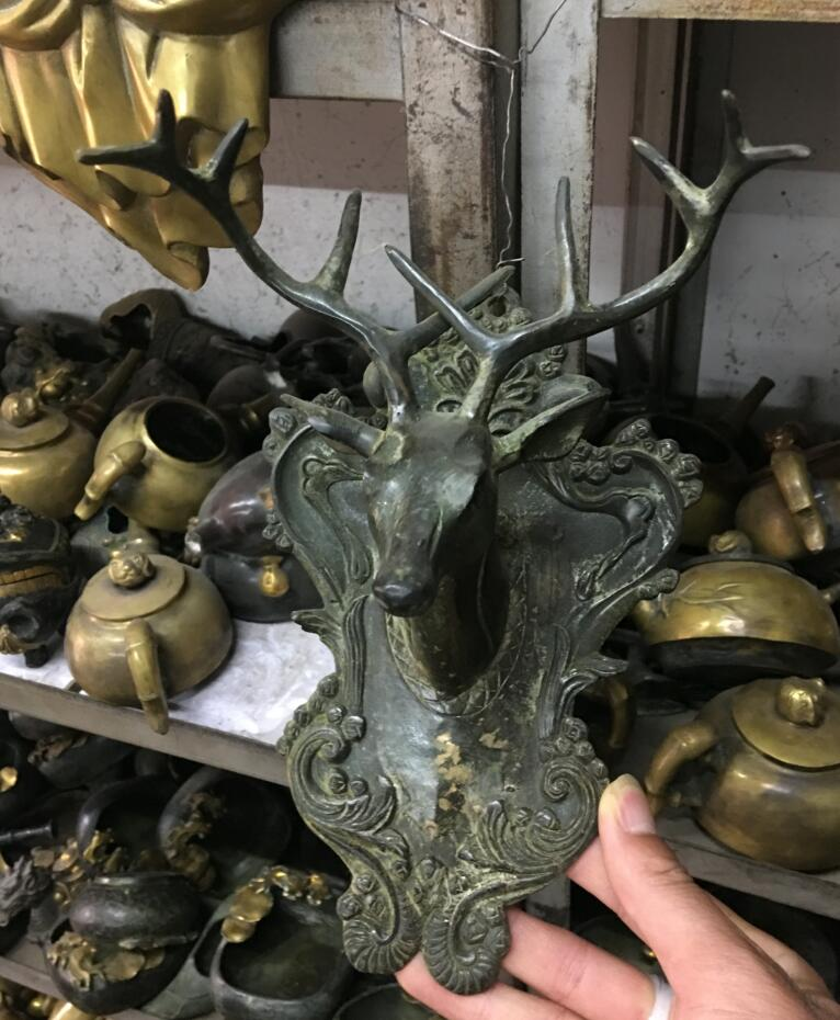 Viejo tibet, budismo bronce exorcismo Ganesha ciervo Dios estatua de cabeza de bestia máscaras
