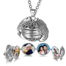 10 pièces/lot en gros 4 couleurs en expansion Photo médaillon collier pendentif ange ailes cadeau bijoux Album boîte collier VA-2017 * 10