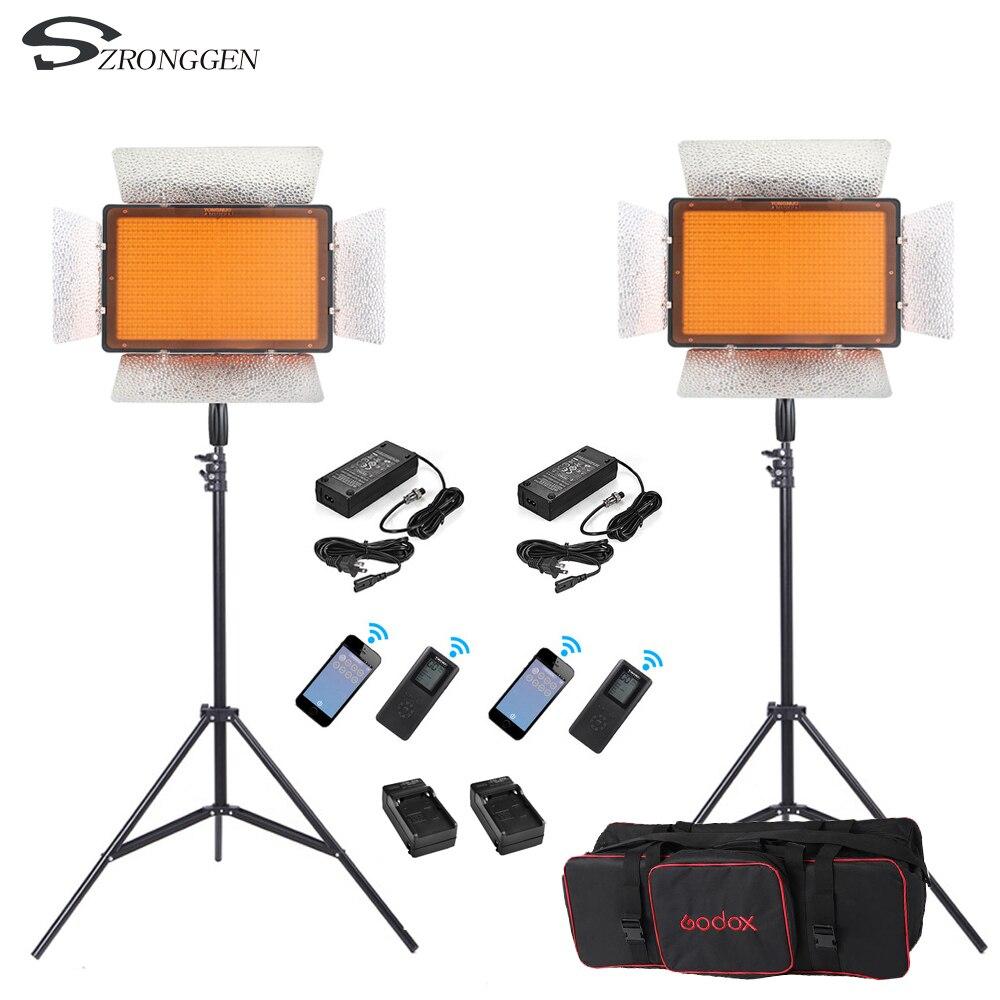 2x Yongnuo YN1200 CRI95 Bi-color 3200-5500K 1200 Led Video Fill Light Lighting Kit + 2 m Light Stand +Power Adapter+Bag