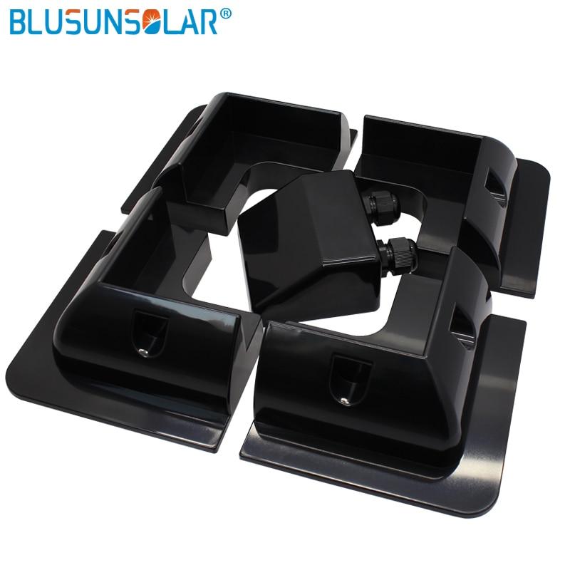 10 مجموعة مجموعة الأشعة فوق البنفسجية مقاومة أسود أو أبيض اللون ABS دعامة شمسية لوحة نظام التركيب ل قافلة موتور المنزل RV الشمسية