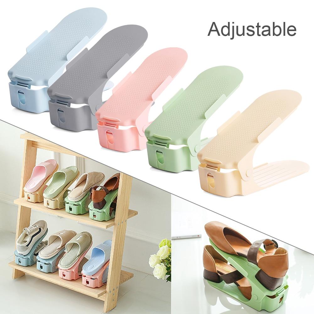 Organizador de ahorro de espacio con ranuras ajustables para zapatos de Casa 5 uds. Soporte de doble capa de plástico-ahorra espacio 50%
