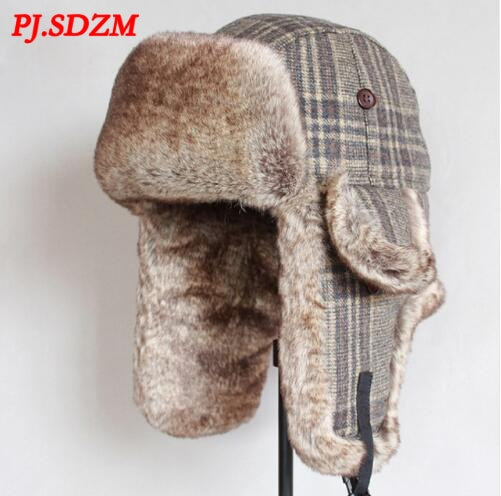 PJ.SDZM New Winter Bomber Hats Wool Winter Warm Aviator Russian Cap Outdoor Faxu Fur Ear Flaps Bombe