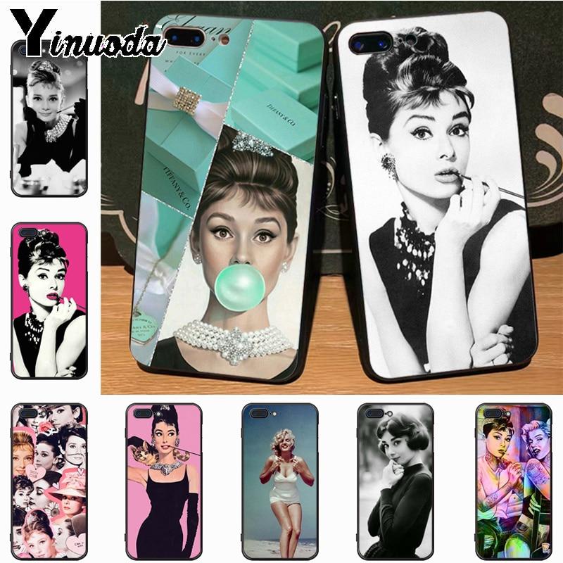Yinuoda Audrey Hepburn oferta especial de lujo funda de teléfono vertical 8 para el iPhone de Apple 7 6 6S Plus X 5S 11pro SE 5C funda