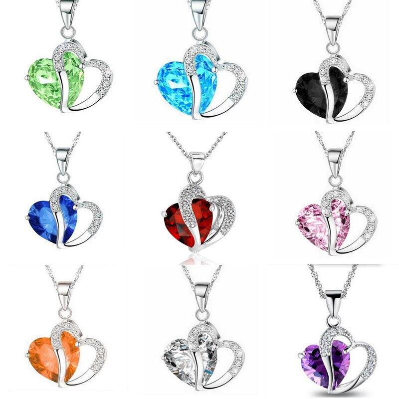 Romantic Crystal Heart shape Pendant necklaces For women Rhinestone chains Choker 2020 Fashion Love Jewelry