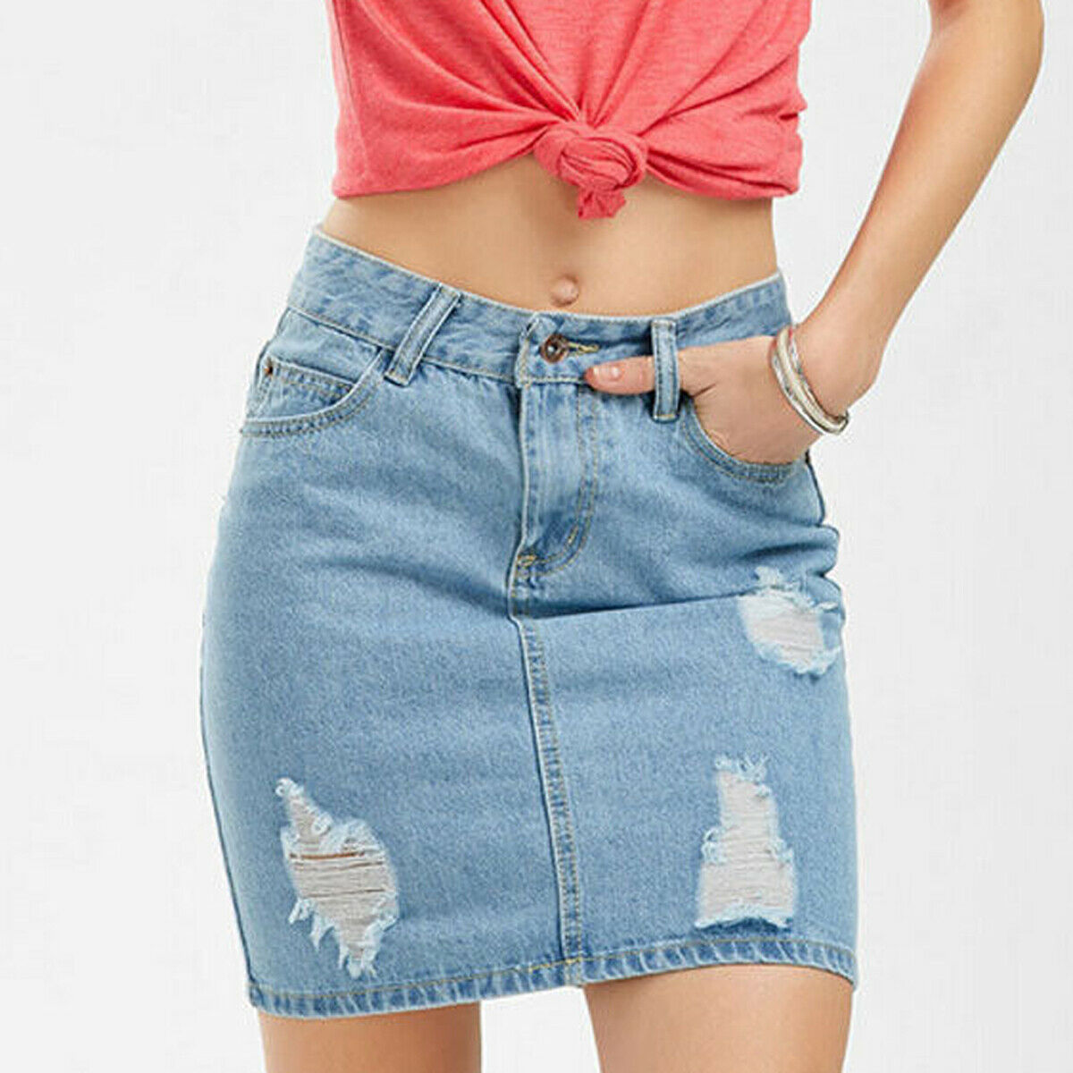 2019 Women Summer Slim High Waist Ripped Skirt Fashion Ladies Faded Denim Jean Bodycon Short Mini Pencil Skirt