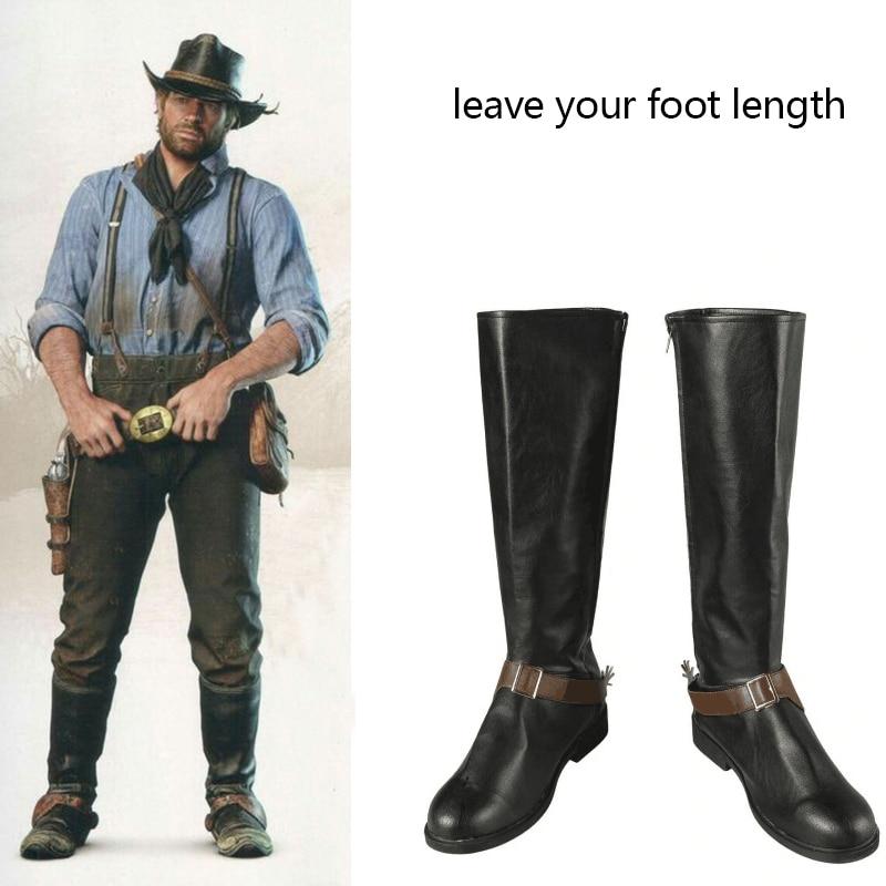 Traje de Red Dead Redemption 2 del juego, botas de cuero para Cosplay de Cowboy, Aaron y morgory, accesorios para Halloween y Carnaval, hechos a medida