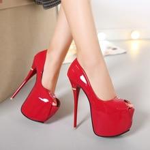 Chaussures de mode chaudes femmes plate-forme talons hauts 16CM femmes pompes Peep orteil en cuir rouge chaussures de mariage dames célibataires voiture modèles chaussures