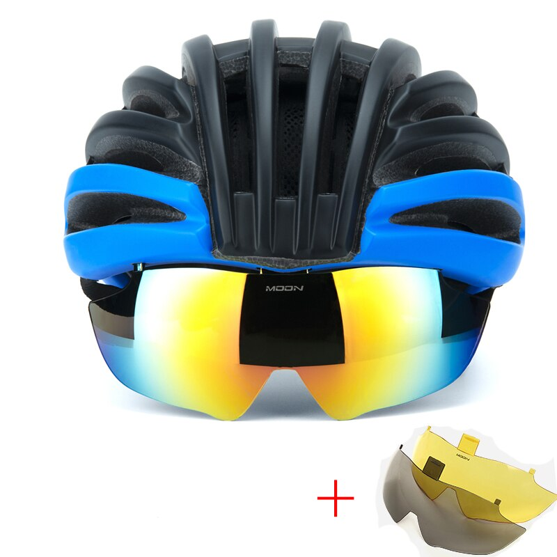 Cheap Cycling Helmet Bicycle Helmet Goggles Mountain Road Bike Helmets Sunglasses Cycling Glasses 3 Lens Bike  Casco Ciclismo