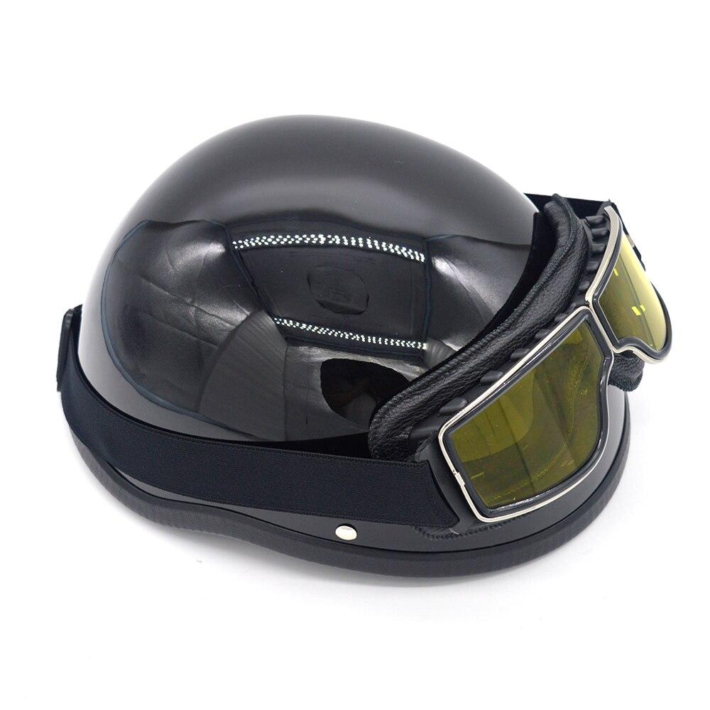 Klassische FRP Vintage Retro Motorrad Roller Helm Open Halbe Gesicht Helm Schwarz/Weiß