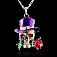 Fashion skull jewelry Gothic Antique Necklace Pendant Jewelry flower enamel Vintage Enamel crystal skull collection
