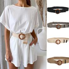 Cinturón ancho de 2019 Nuevos Bohemios para mujer, hebilla de paja, cinturón decorativo para vestido, cinturón informal para mujer, Correa ancha trenzada, accesorios de jade