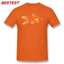 Unique hommes T-shirt coton T-shirt poisson rouge imprimer hauts chanceux conception géométrique vêtements col rond couleur Orange T-shirt hommes t-shirts