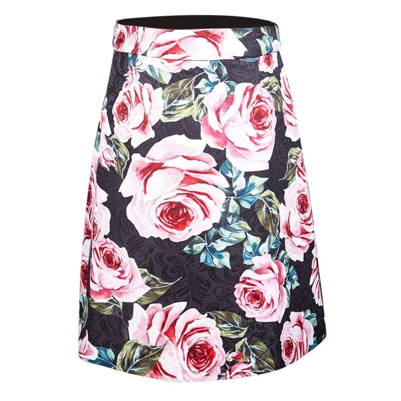 Индивидуальные женские новые модные розовые жаккардовые короткие юбки с цветочным принтом и высокой талией, повседневные юбки больших раз...