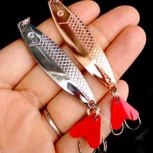 1 Uds 6cm 10g Metal Spinner cuchara pesca señuelo duro cebos lentejuelas ruido Paillette cebo Artificial con gancho triple
