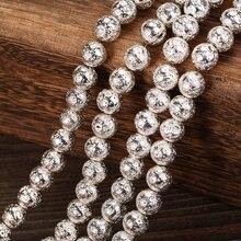 Pierre naturelle couleur argent lave ronde perles en vrac pour la fabrication de bijoux 4 6 8 10 12mm bijoux perle accessoires