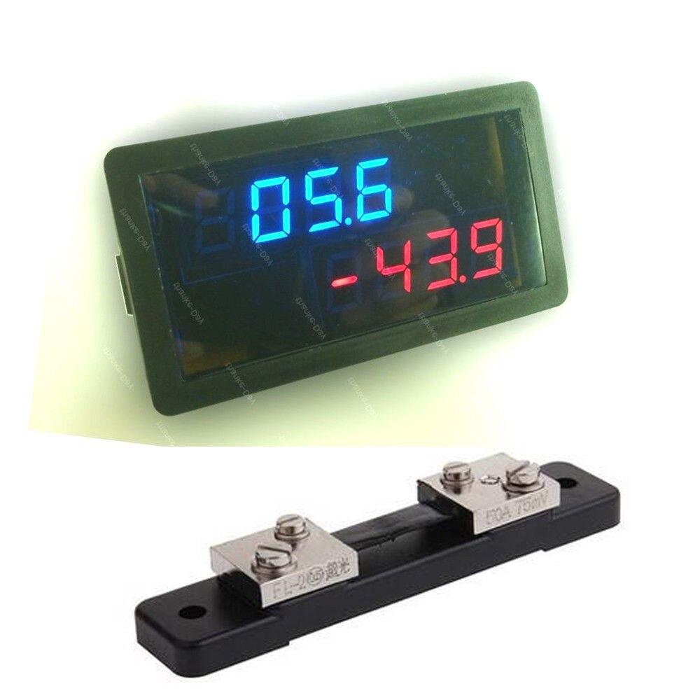 Dc medidor de combinação dc 20v 50a voltímetro amperímetro bidirecional corrente medidor carga descarga bateria monitor + shunt