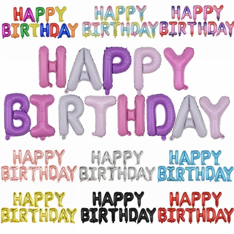 1set 16 zoll Brief HAPPY BIRTHDAY Balloons Multicolor Alphabe Folie Ballons für Kinder Favor Birthday Party Luft Ball Dekoration 85