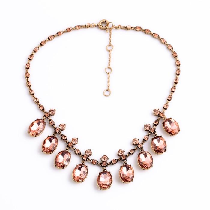 Encanto romántico accesorio de cristal de resina Best Seller rosa y claro hermoso Diamante de imitación cadena Oval collar de cristal