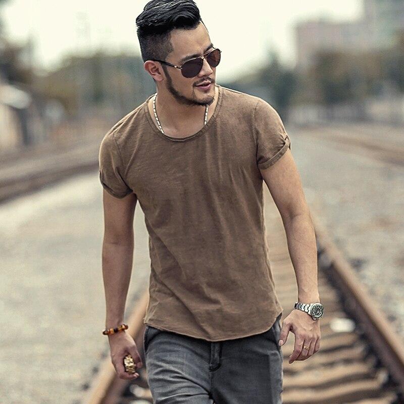 Men's Summer Clothes Washed Retro Coffee Slim Short Sleeve T-shirt Men European Style Fashion Slim Casual Solid T-shirt T516