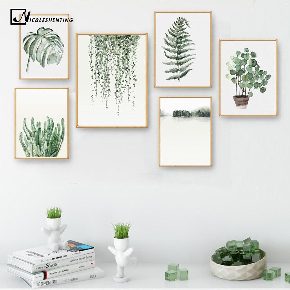 Cartel de hojas de plantas de acuarela estampado de paisaje cuadro sobre lienzo para pared cuadro para sala de estar decoración del hogar cactus de decoración