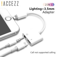 ! Адаптер ACCEZZ 2 в 1 для iPhone X 7 8 plus XS MAX, сплиттер с разъемом 3,5 мм, Aux-кабель для наушников, прослушивание музыки, зарядный разъем, адаптеры