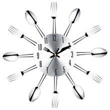 PHFU couteau et fourchette en acier inoxydable   Cuillère en acier inoxydable, cuisine restaurant horloge murale décoration de la maison