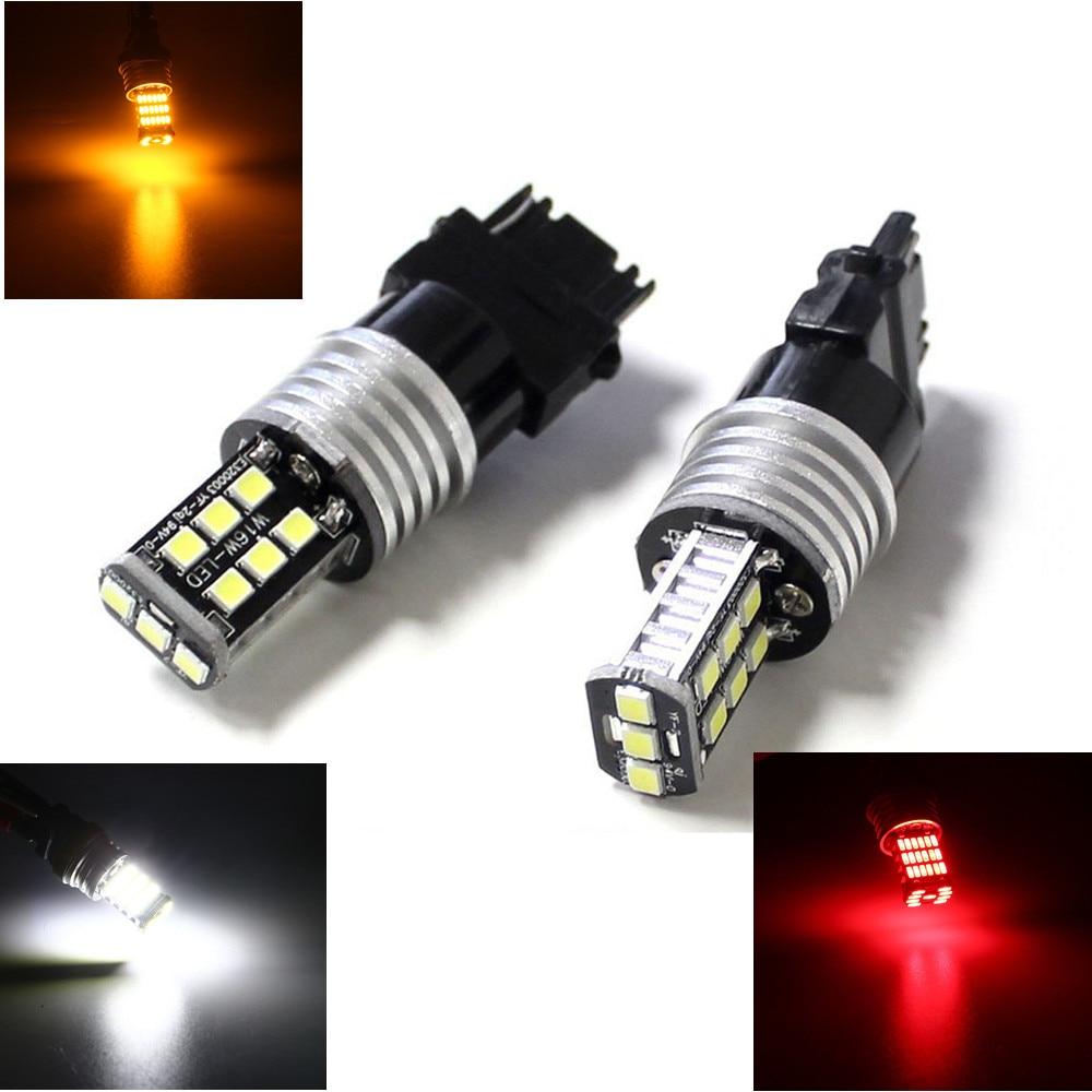 2 piezas de luz LED DRL trasera T25 3157 PY27/7W 7443 W21/5W luz intermitente 15smd 2835 Blanco/ámbar/rojo