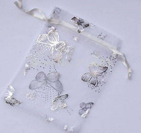 Bolsa de Organza de mariposa al por mayor de 7x9 cm, bolsas de embalaje de joyas de boda, bolsas de regalo, multicolor, 100 unids/lote