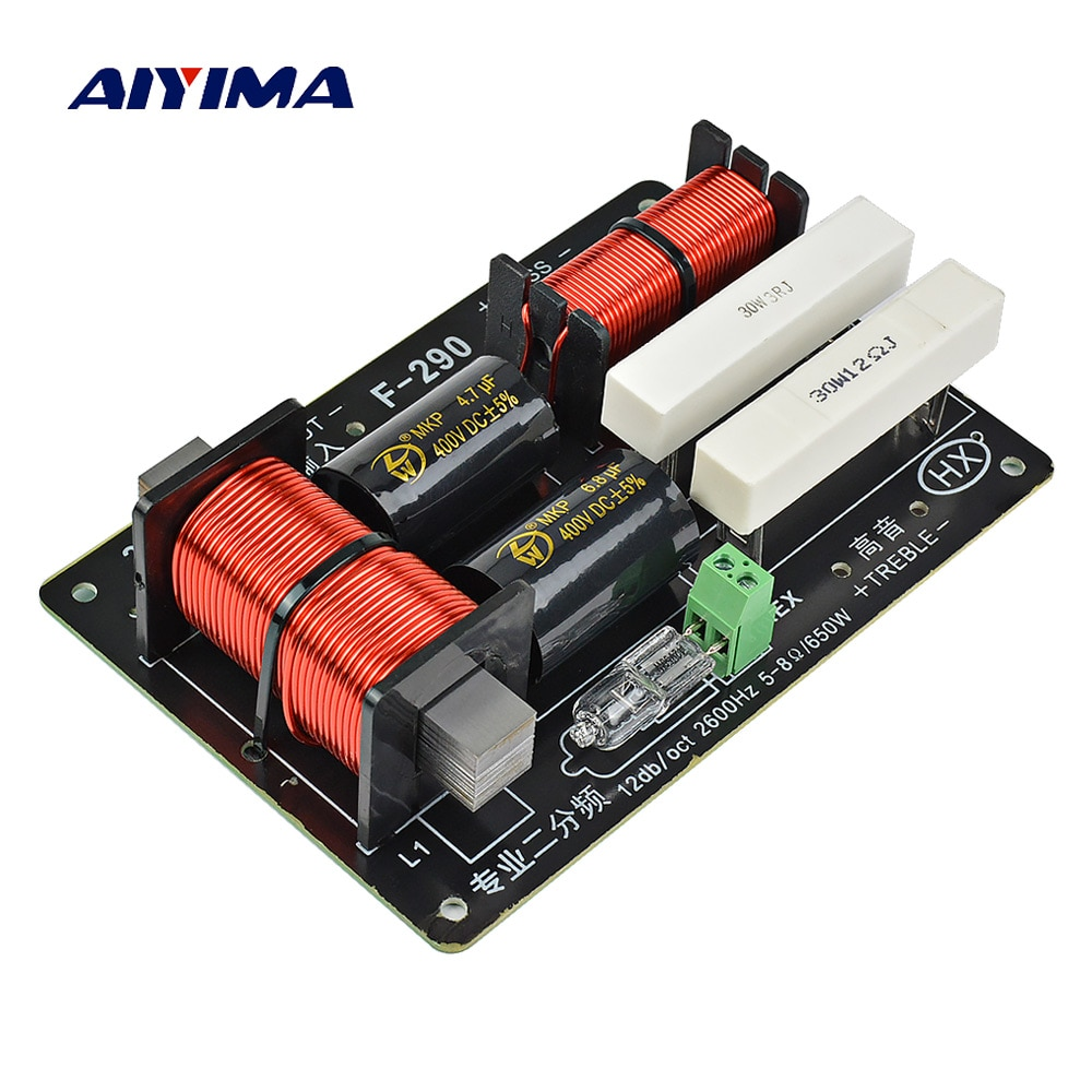 AIYIMA 1PC 650W 2 vías Crossover tarjeta de Audio Tweeter Bass altavoz divisor de frecuencia para 5-8Ohm de altavoz de etapa de filtro de 2600Hz