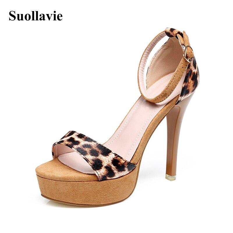 Женские босоножки на высоком каблуке с леопардовым принтом, открытые сандалии с пряжкой, женские сандалии-гладиаторы на платформе, повседн...